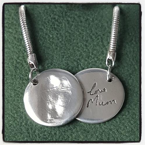 Fingerprint Signature Double Coin Necklace