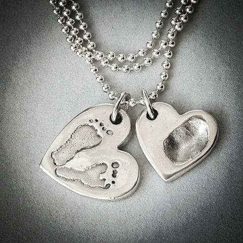 Footprint & Fingerprint Heart Necklace