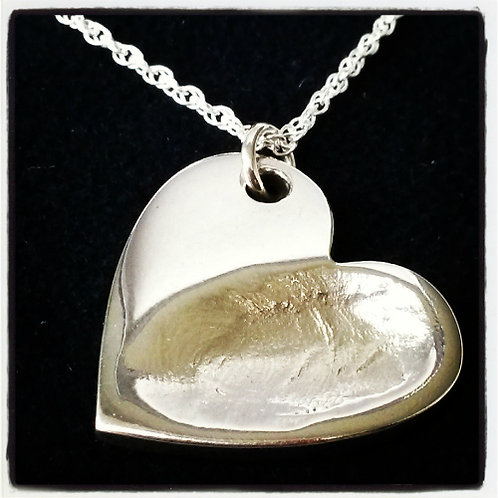 Large Fingerprint Heart Necklace