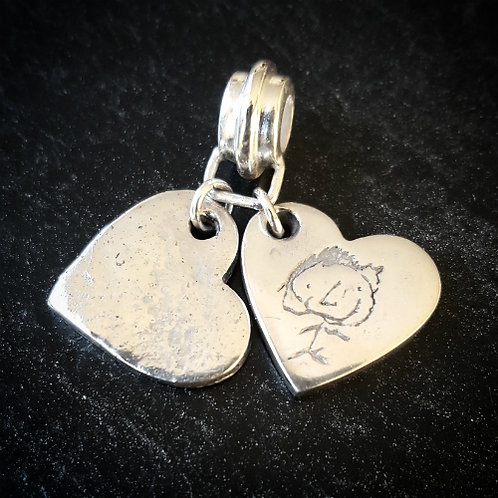 Ashes in Silver Double Heart Charm