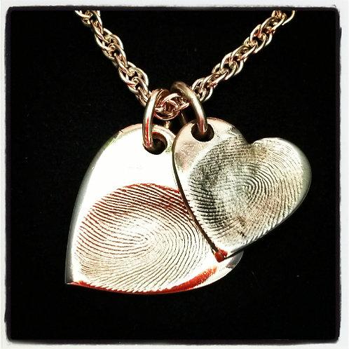 Fingerprint Heart Necklace Duo