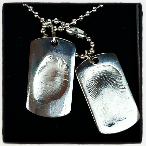 Fingerprint Dog Tag Duo Necklace