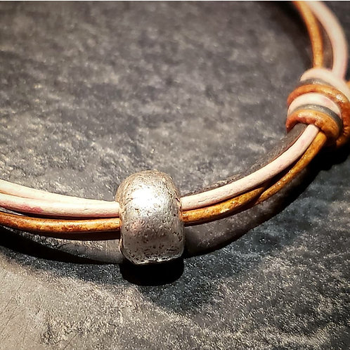 Ashes into Silver Bead on Leather Bracelet