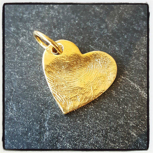 Fingerprint Heart Medium Pendant Gold Plated