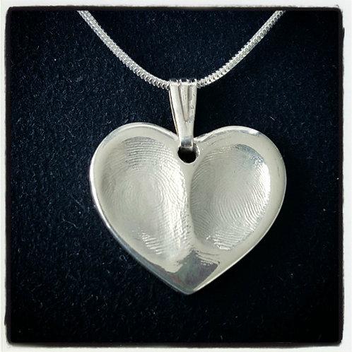 Double Fingerprint Heart Necklace