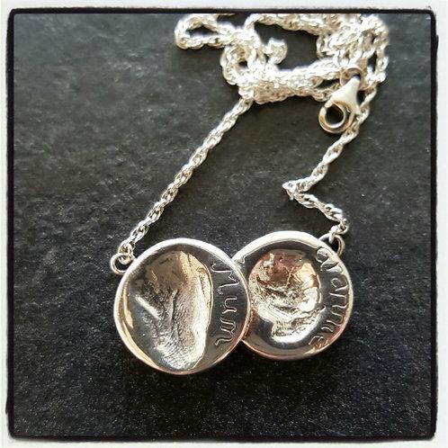 Fingerprint Double Coin Necklace