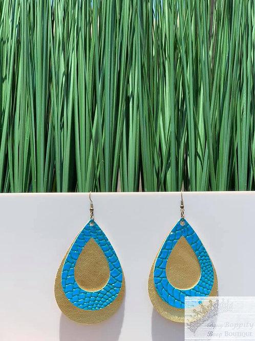 Double Layered Open Turquoise/ Gold Metallic
