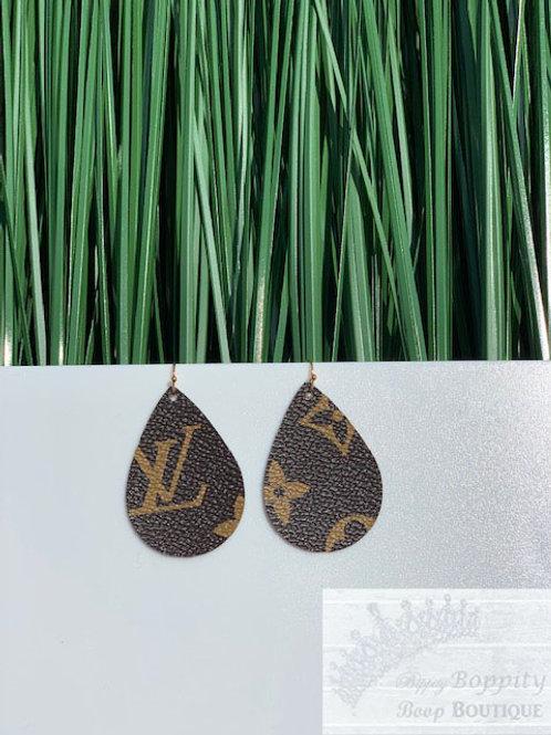 Gold/Brown LV Inspired Teardrops