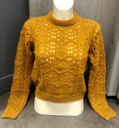 Pull crochet moutarde - 44€