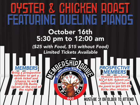Oyster & Chicken Roast featuring Dueling Pianos