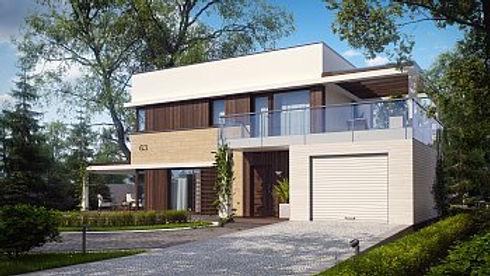 Двуэтажный дом с гаражом и плоской крыше