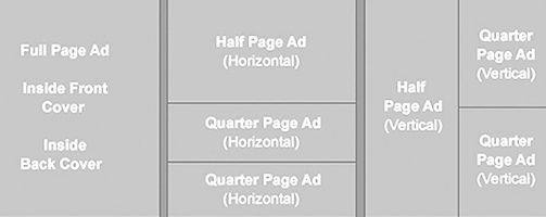 Chart with ads sizes for GALA playbills