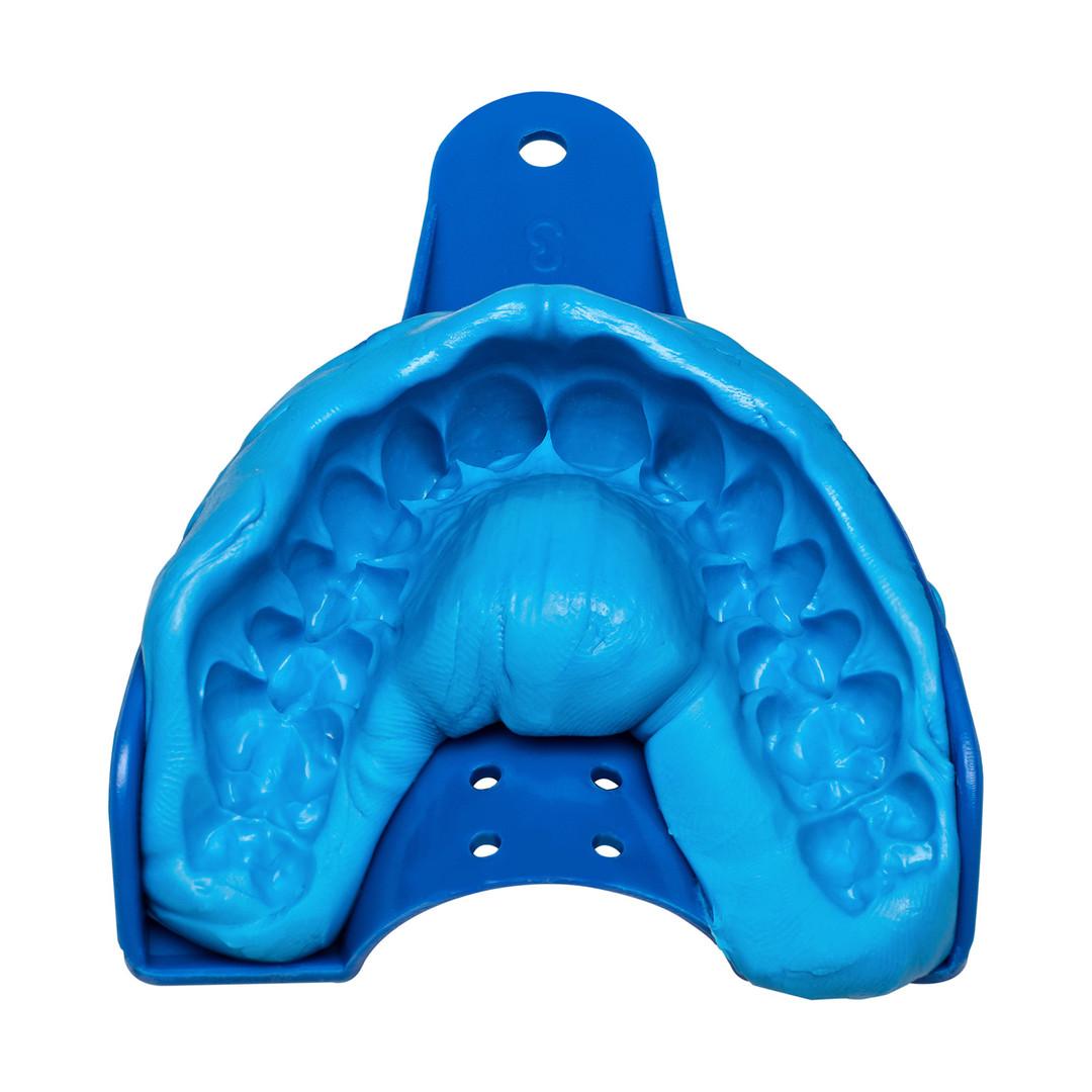 Produktbild blauer Zahnabdruck