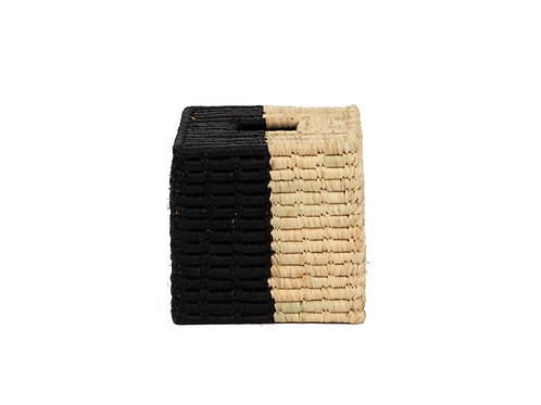 Black and Natural Square Tissue Box Cover