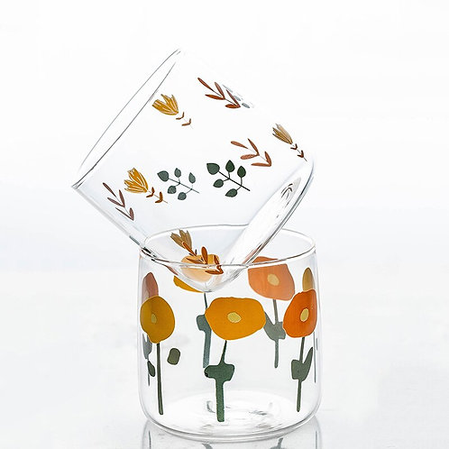 Vintage Flower Glass Tumblers