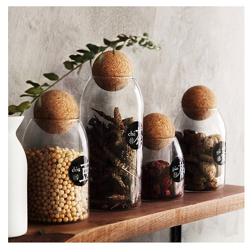 Glass Storage Jars With Cork Stoppers