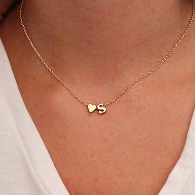 Small but Fierce - Heart Initial Necklace