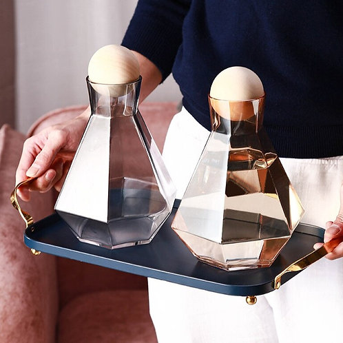 Glass Cold Kettle & Wooden Ball Stopper