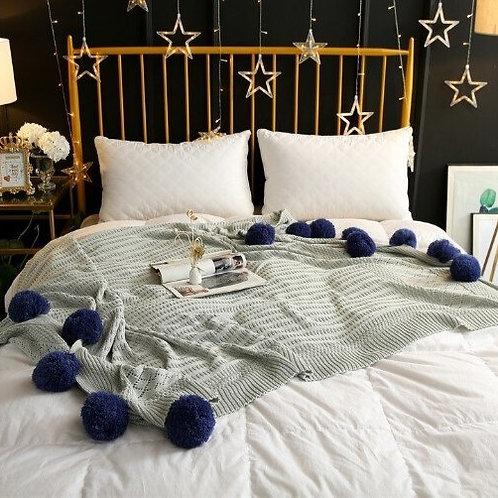 100% Cotton Pom Pom Woven Blankets