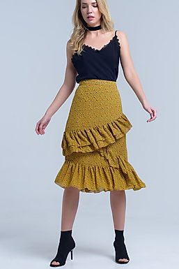 Layla Golden Ruffled Midi Skirt