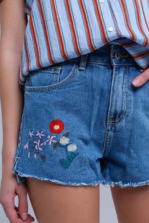 Square Dance Embroidered Denim Cut Offs