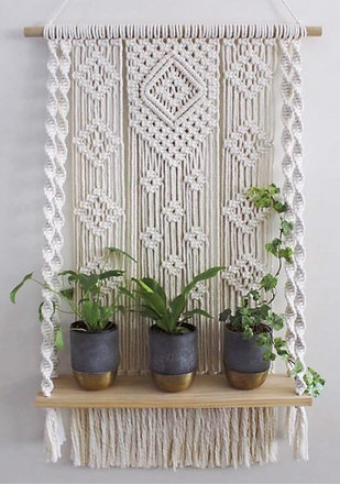 Single Tier Macrame Hanging Plant Shelf