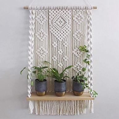 Single Tier Macrame Hanging Plant Shelf
