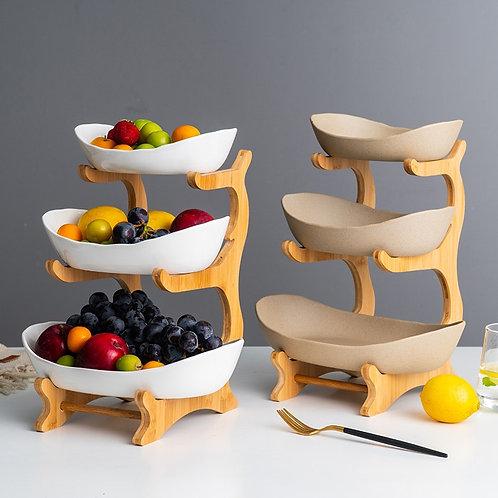 Ceramic Three-Layer Snack Plate Shelf