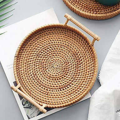 Rattan Snack Tray with Bamboo Handles