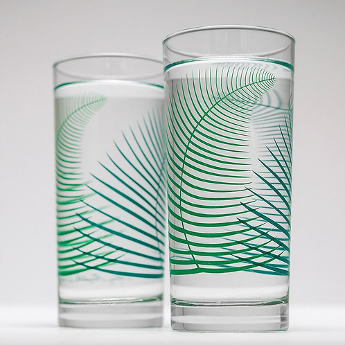 2 Set-Green Fern Glasses by Mary Elizabeth Arts