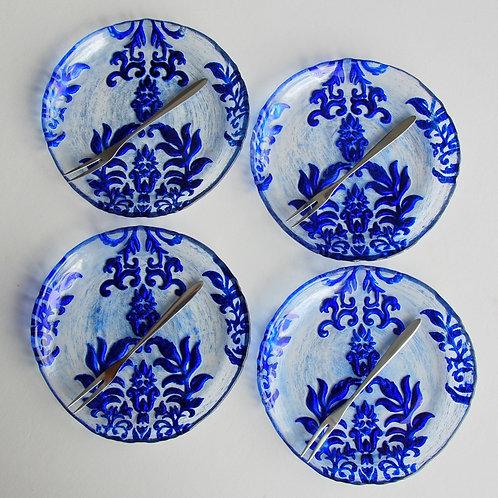 "Damask BLUE VELVET CANAPE PLATES  6.5"" inches - Set of 4"