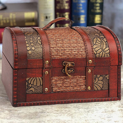 Vintage Treasure Chest Jewelry Box