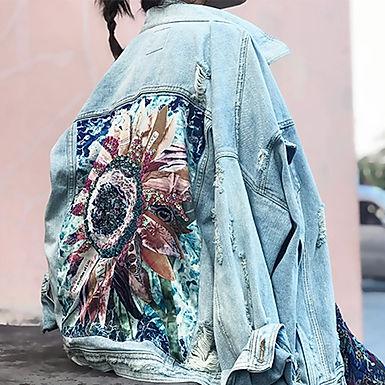 Wild Flower Embroidered Denim Jacket