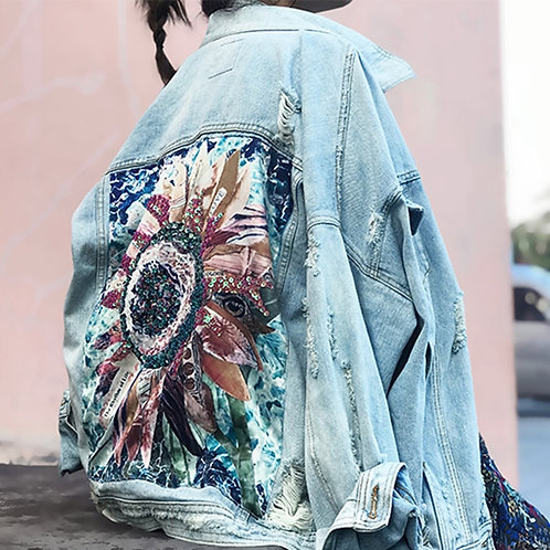 Wild Flower Embroidered Denim Jacket