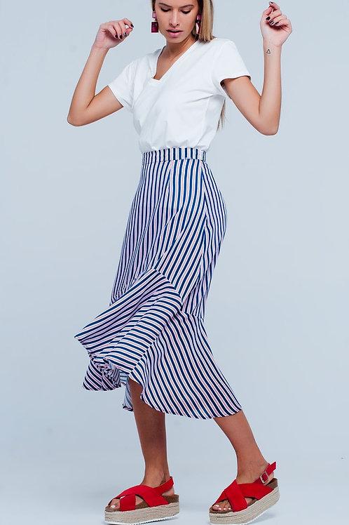 In The Navy -A-symetric Hem Midi Skirt