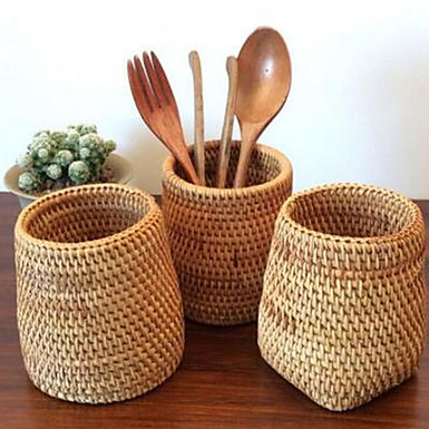 Natural Rattan Kitchen Utensil Storage Pots