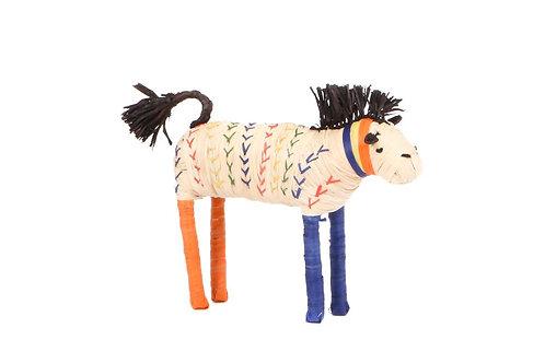 Primary Colors Raffia Horse