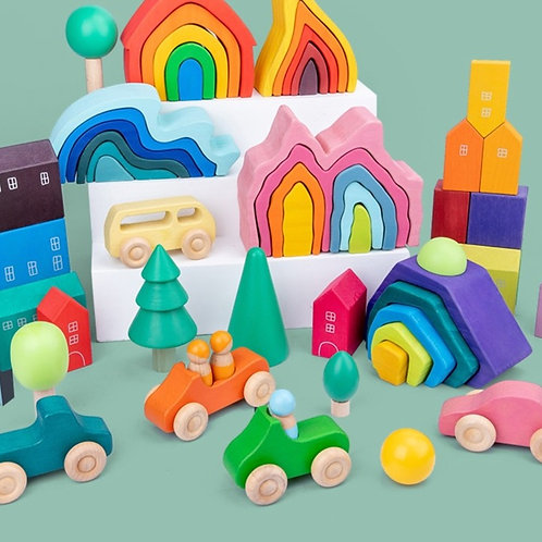 Educational Wooden Puzzle and Stacking Games for Children