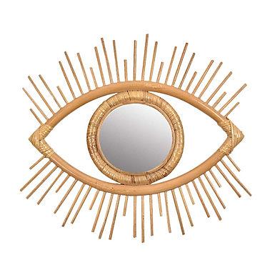 Evil Eye Natural Rattan Mirror