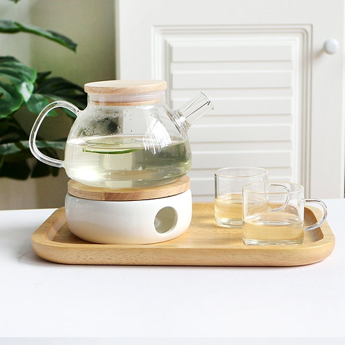 Large Heat-Resistant Borosilicate Glass Teapot With Candle Holder