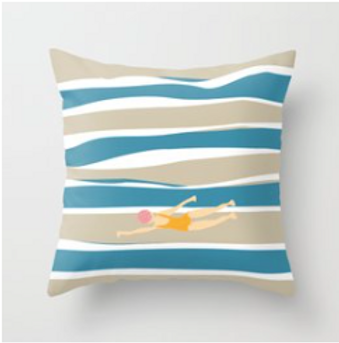 Keep Swimming By A.Talese- Throw Pillow ( Insert Included