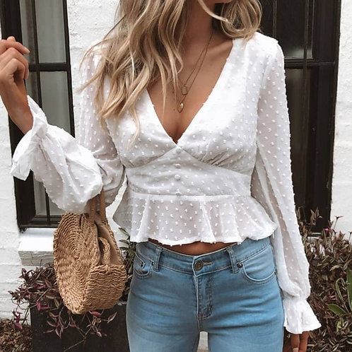 The Regina Ruffle Crop Blouse