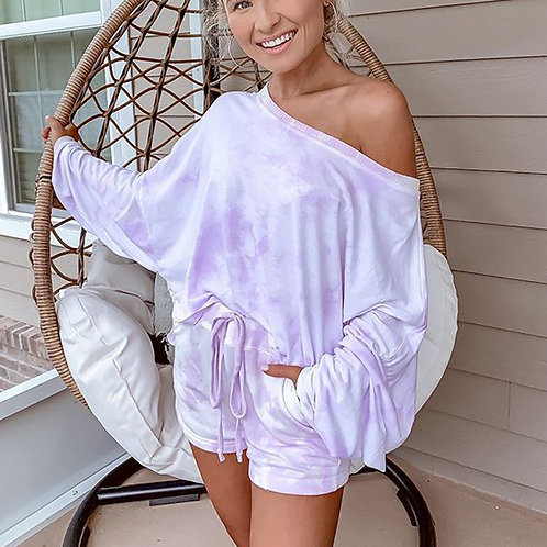 Violet Tie Dye Shorts & Long Sleeve Set