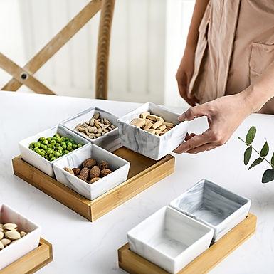 Ceramic Snack Tray & Dishes