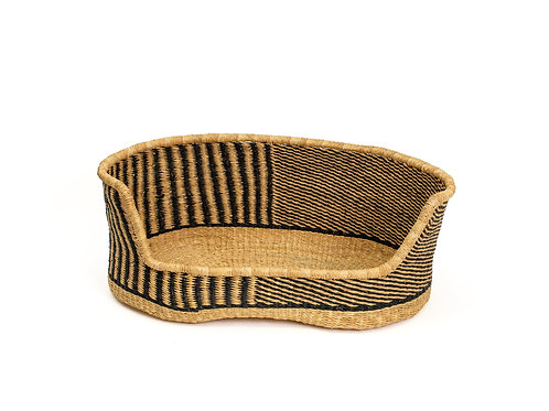 Black Patterned Small Pet Bed