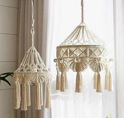 Hand-Woven Macrame Fringe Lamp Shade