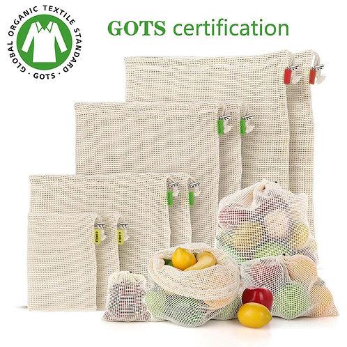%100 Organic Cotton Produce Storage Bags - Eco-Friendly,BioDegradable & Cute