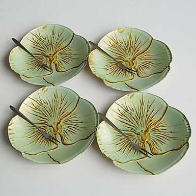 """Pansy TURQUOISE GOLD CANAPE PLATES  6.5"""" inches- Set of 4"""
