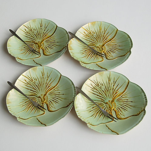 "Pansy TURQUOISE GOLD CANAPE PLATES  6.5"" inches- Set of 4"