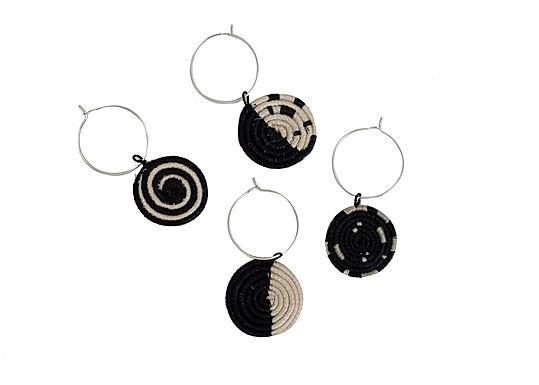 Black + White Geo Wine Glass Charms